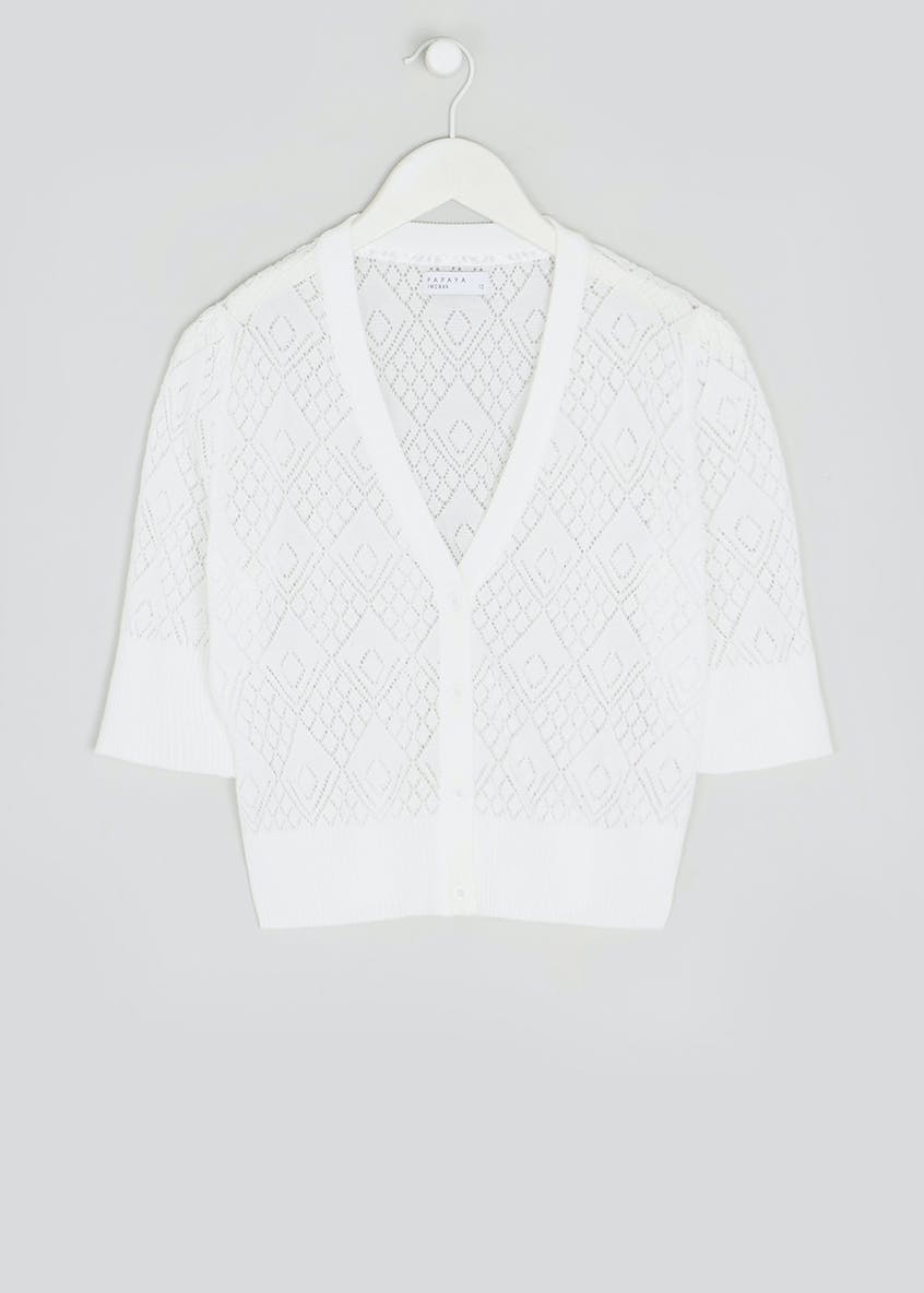 Cropped Pointelle Cardigan