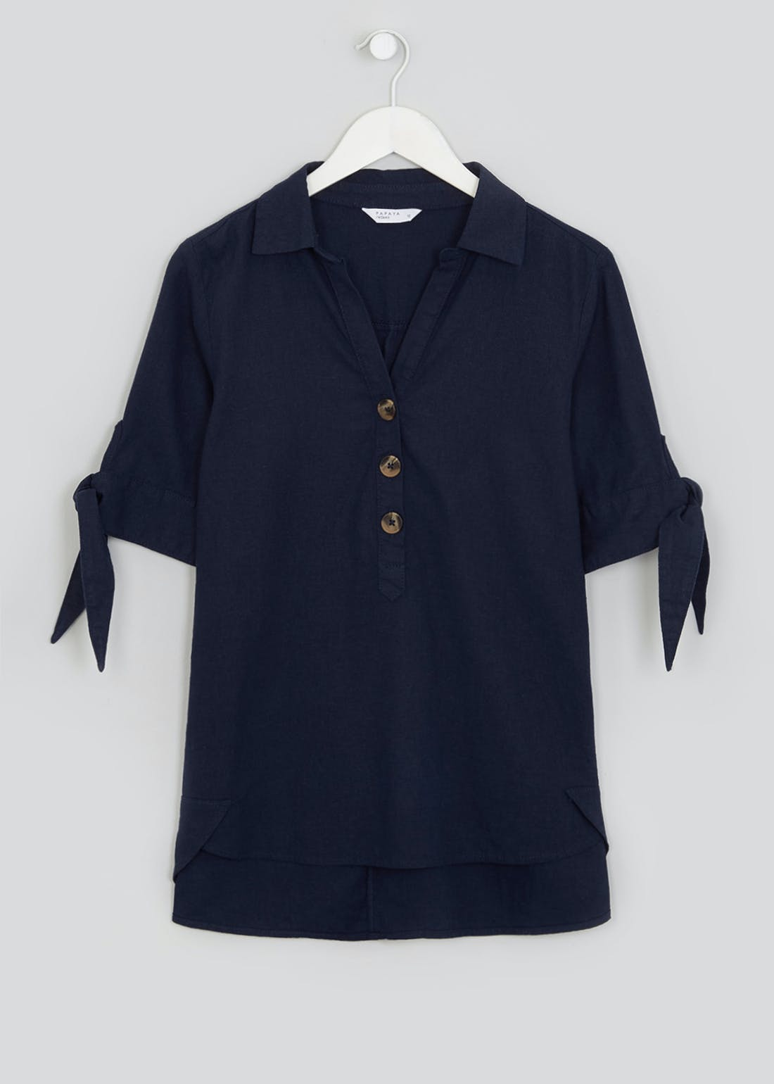 Navy Short Sleeve Linen Tie Cuff Shirt