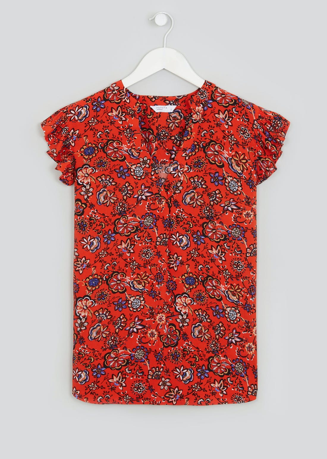 Red Short Sleeve Ruffle Floral Blouse