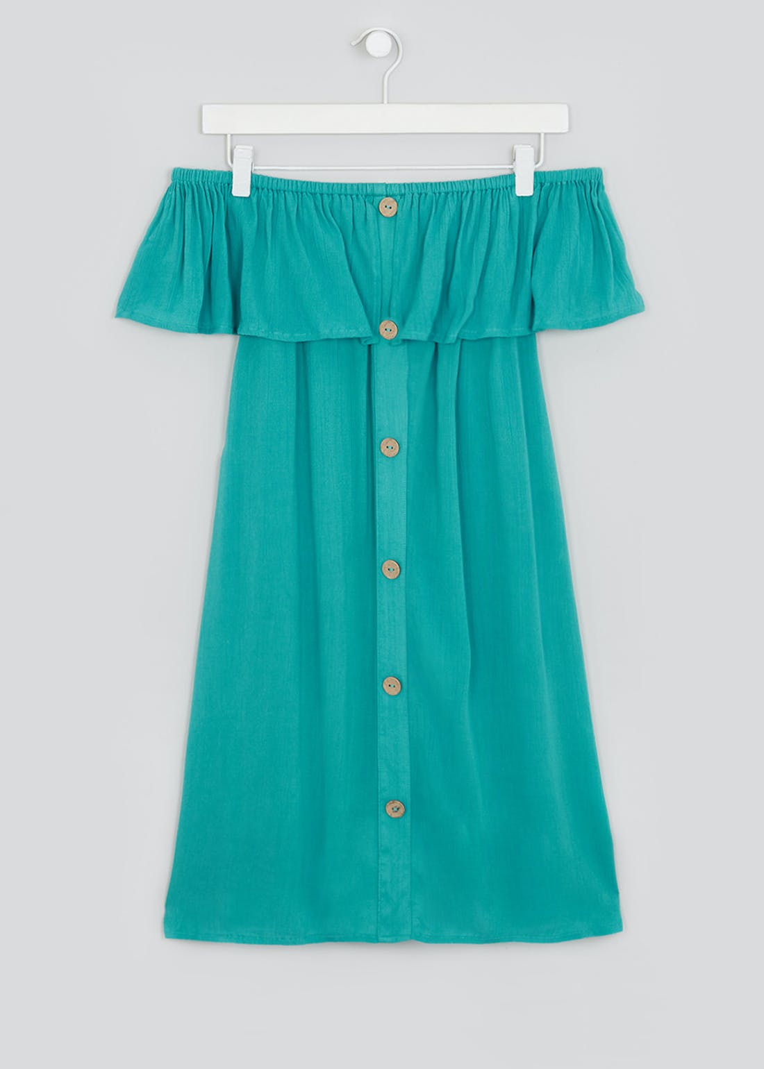 Green Crinkle Bardot Beach Dress