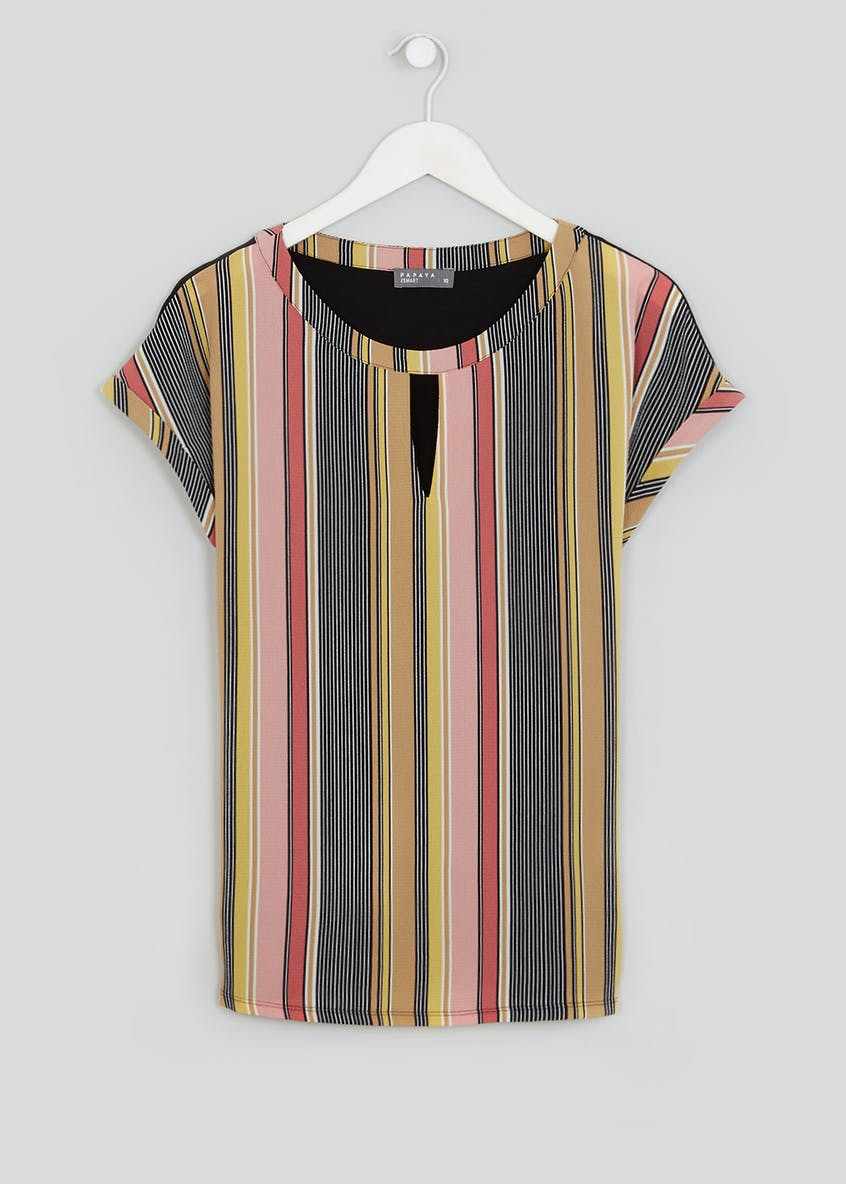 Short Sleeve Stripe Cut-Out Woven Front Top