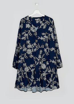 Papaya Curve Navy Long Sleeve Tiered Floral Dress