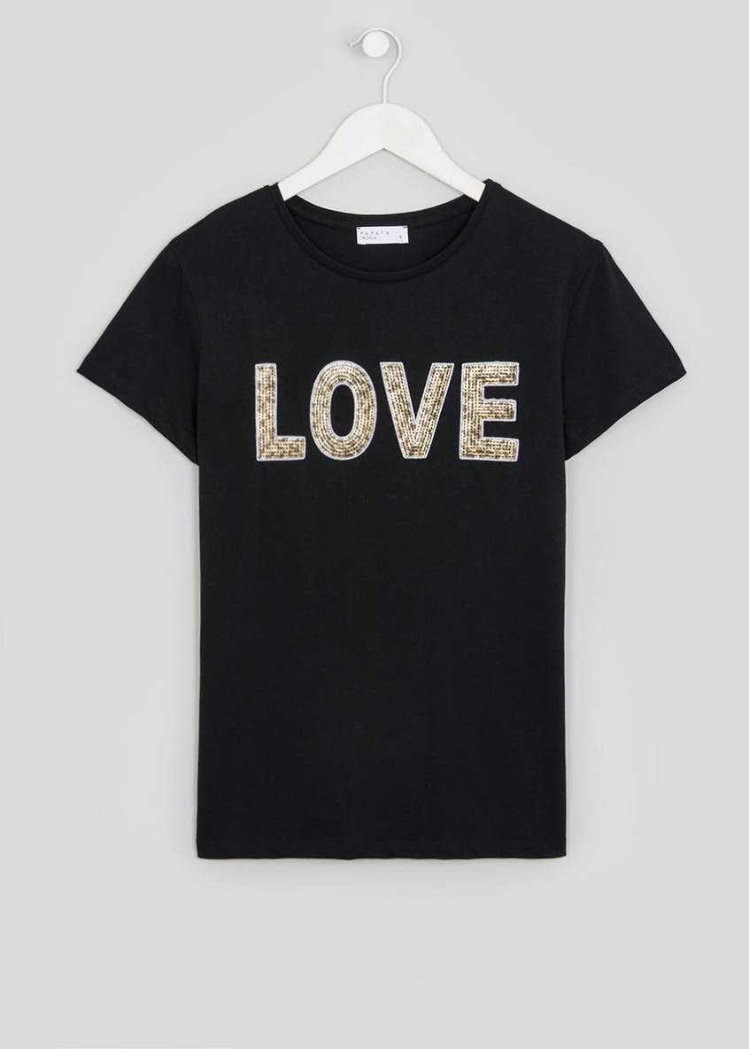 Love Embellished Slogan T-Shirt