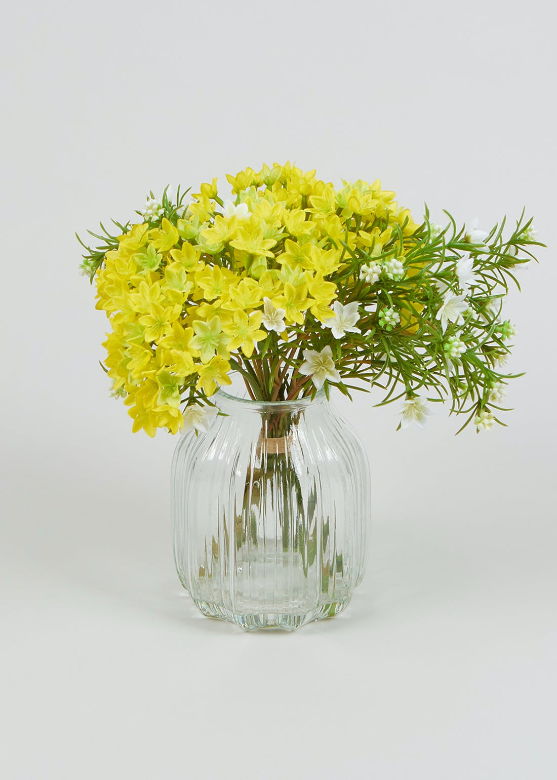 Yellow Flowers in Ribbed Glass Vase (30cm x 28cm)