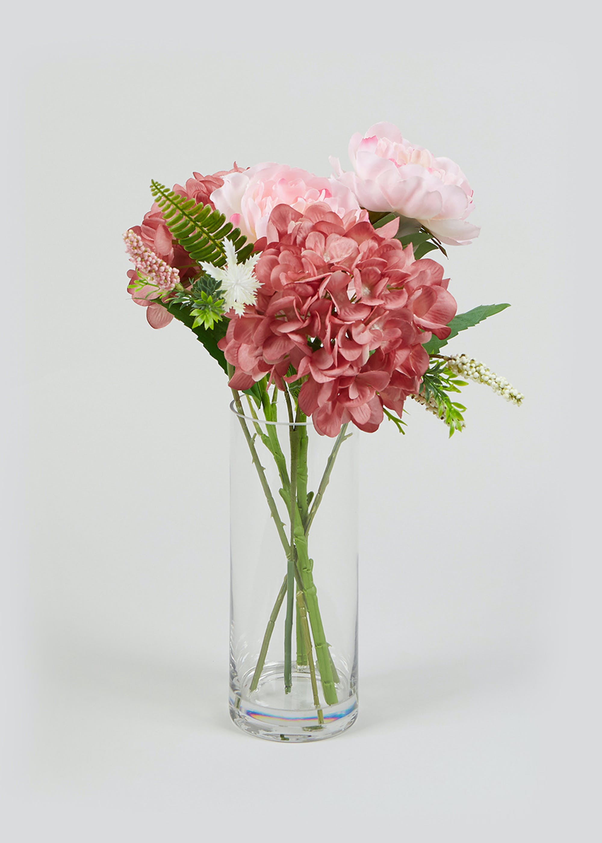 Flowers In Tall Glass Vase 48cm X 30cm Pink Matalan