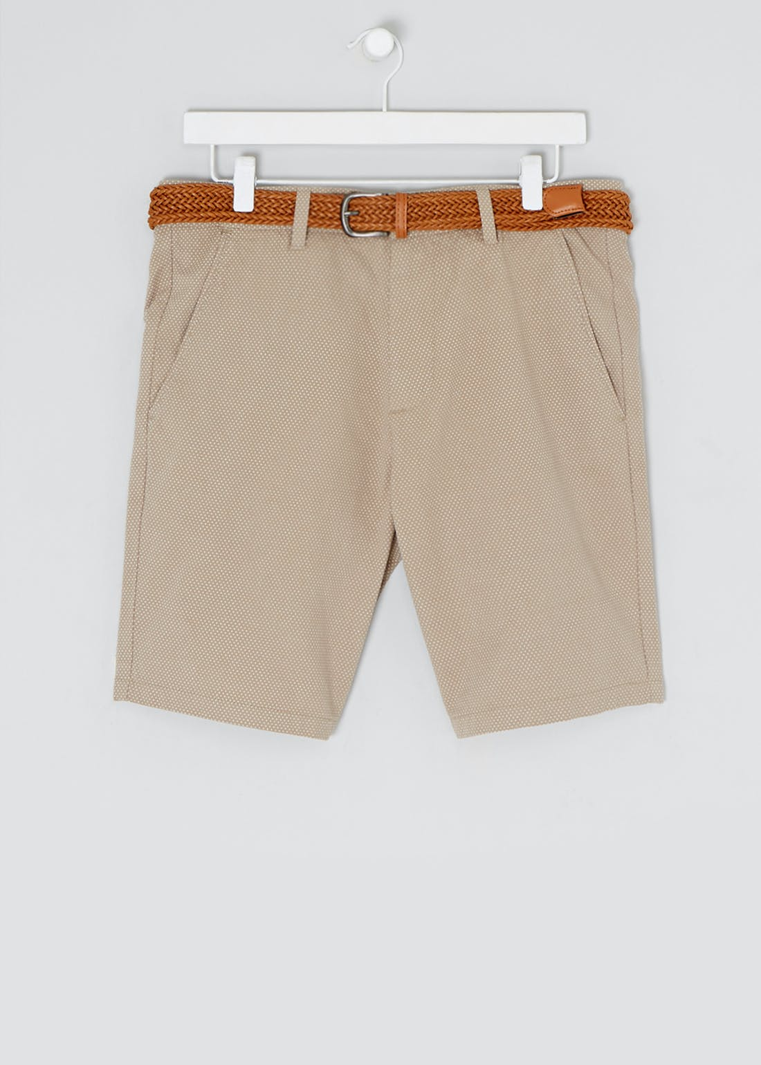 Slim Fit Belted Chino Shorts
