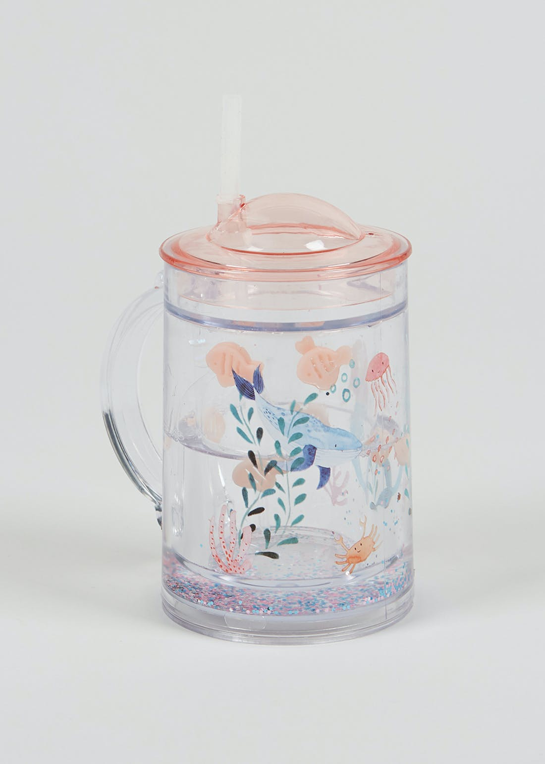 Kids Mermaid Glitter Tumbler & Straw (16cm x 11.5cm)