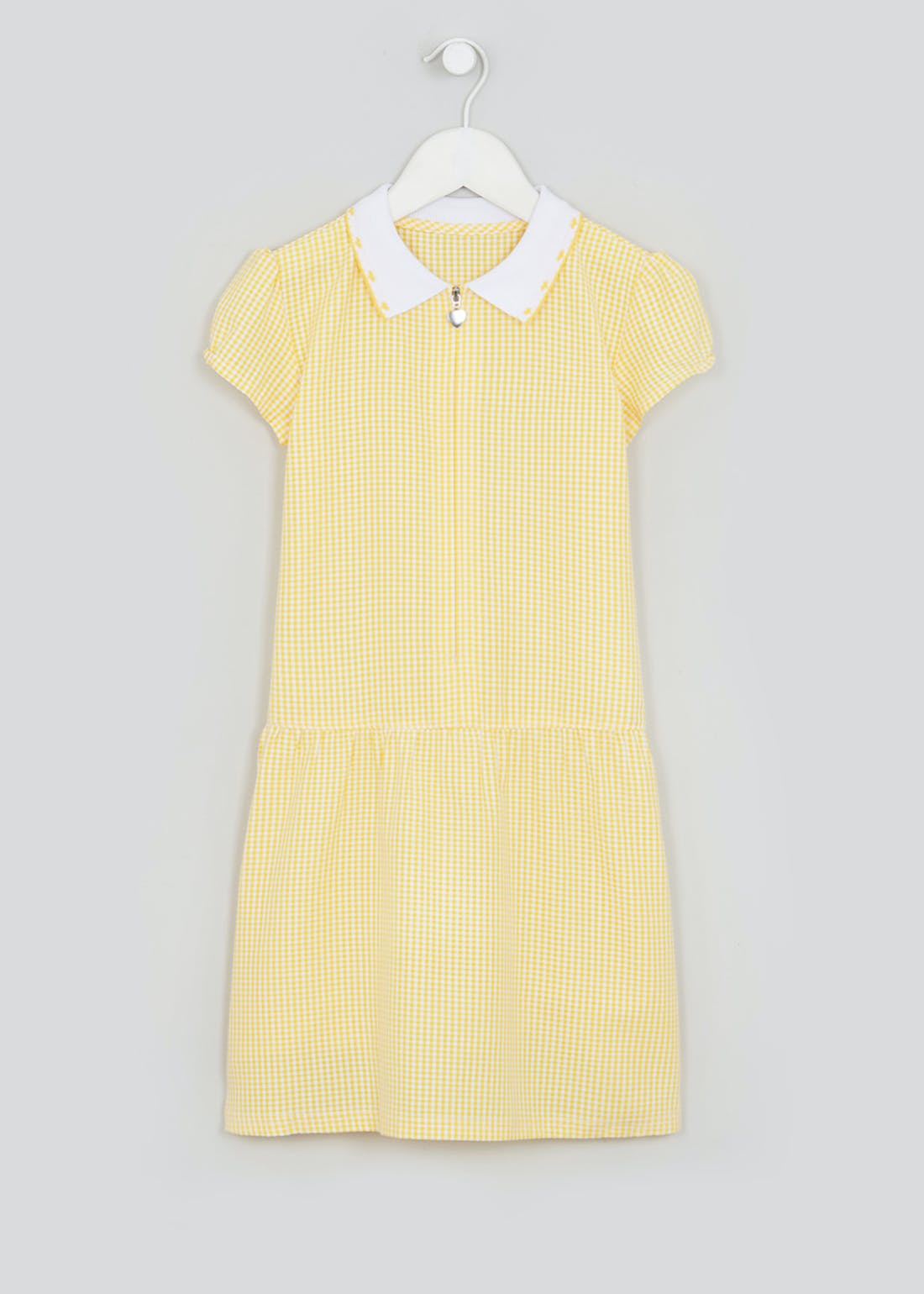 Girls Yellow Zip Front Gingham School Dress (3-14yrs)