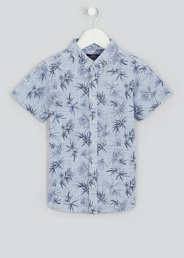 Boys Mini Me Short Sleeve Leaf Print Shirt (2-13yrs)