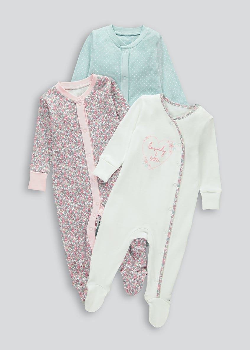 Girls 3 Pack Floral Baby Grows (Tiny Baby-18mths)