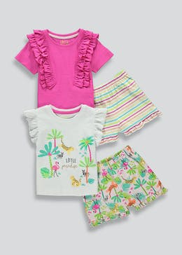 Girls 2 Pack Jungle Short Pyjamas (9mths-5yrs)
