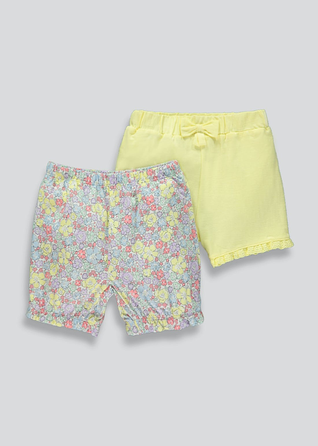 Girls 2 Pack Cotton Shorts (Newborn-23mths)