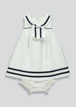 Girls White Sailor Dress (Newborn-23mths)