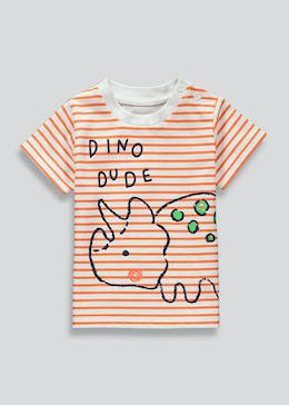 Boys Stripe Dino Dude T-Shirt (Newborn-23mths)