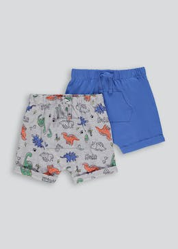 Unisex 2 Pack Dino Print Pocket Shorts (Newborn-23mths)