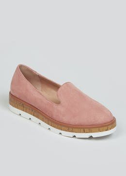 Pink Cork Sole Loafers