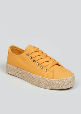 Mustard Lace Up Espadrille Trainers