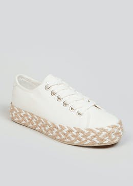 White Lace Up Espadrille Trainers