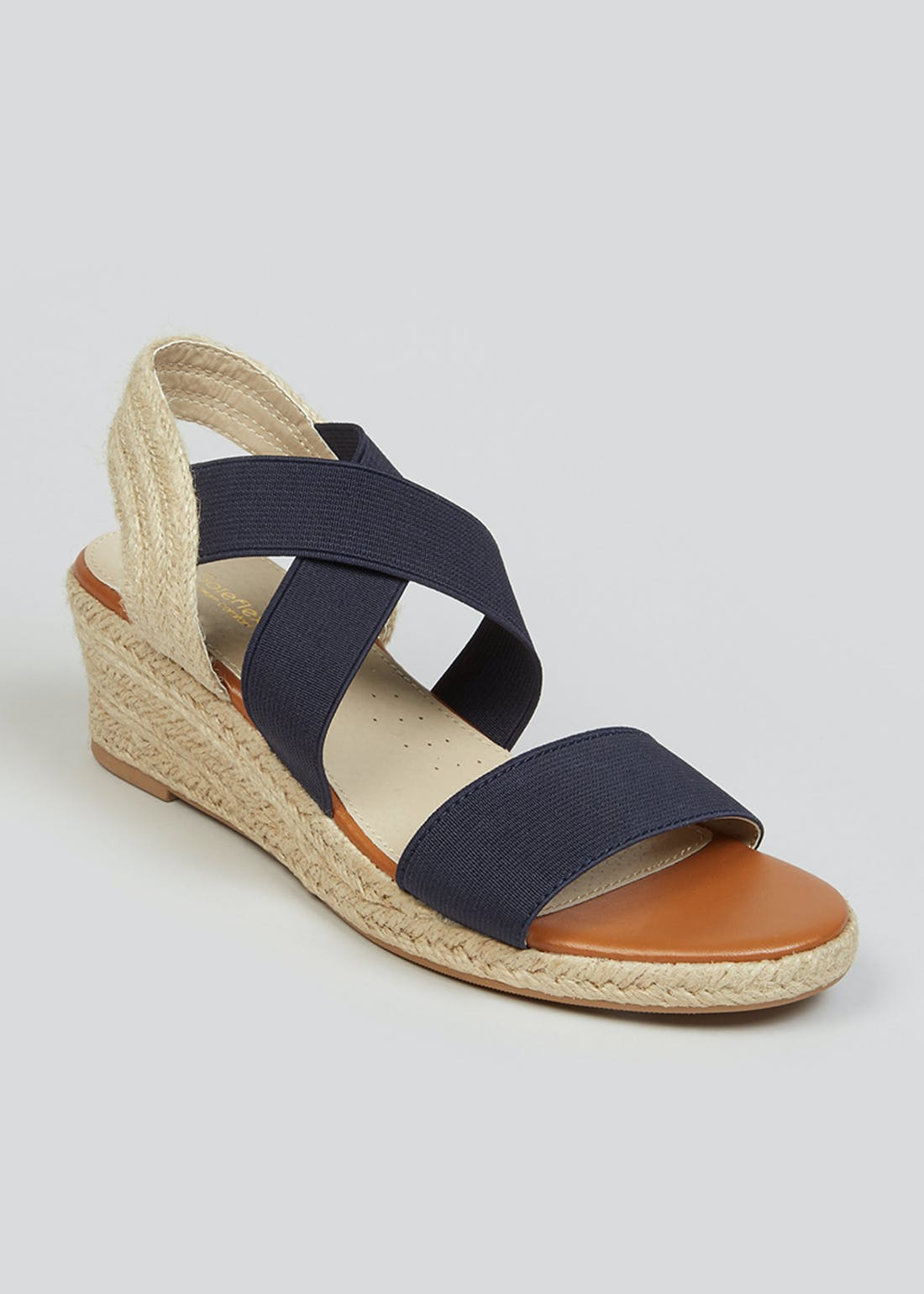 Soleflex Navy Wedge Espadrille Sandals