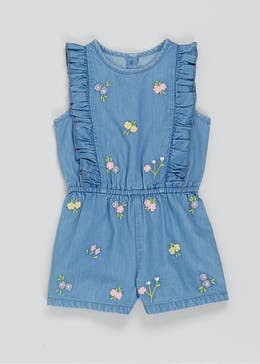 Girls Denim Sleeveless Playsuit (9mths-6yrs)