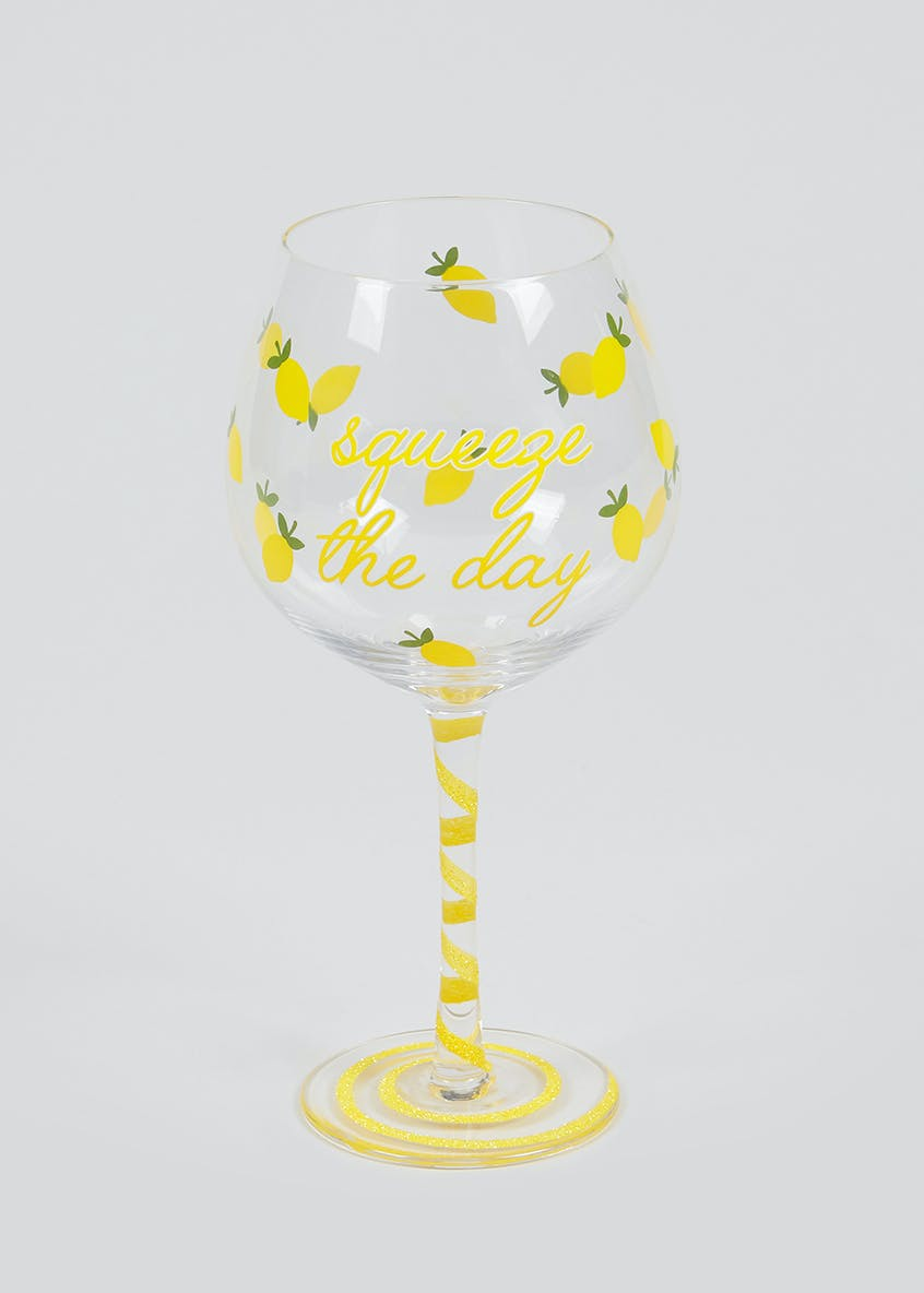 Squeeze The Day Lemon Print Outdoor Gin Glass (22cm x 10cm)