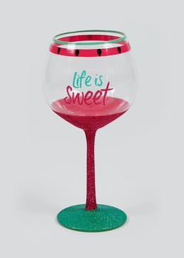 Life Is Sweet Glitter Watermelon Outdoor Gin Glass (22cm x 10cm)