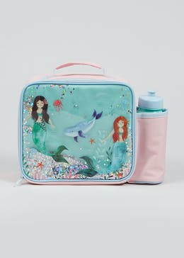 Kids Mermaid Lunch Bag & Water Bottle (30cm x 23cm x 9cm)