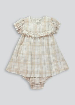 Girls Check Dress & Knickers Set (Tiny Baby-23mths)