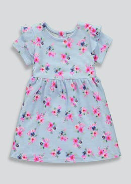 Girls Blue Floral Ponte Dress (9mths-6yrs)