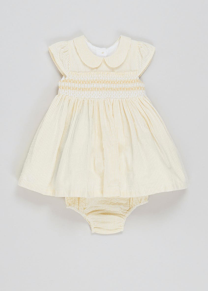 Girls Yellow Smocked Dress (Newborn-23mths)