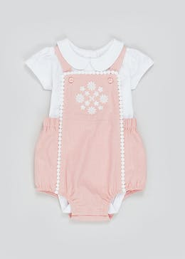 Girls Crochet Trim Dungaree Playsuit (Newborn-23mths)