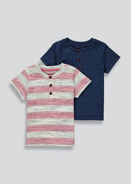 Boys 2 Pack Grandad Collar T-Shirts (9mths-6yrs)