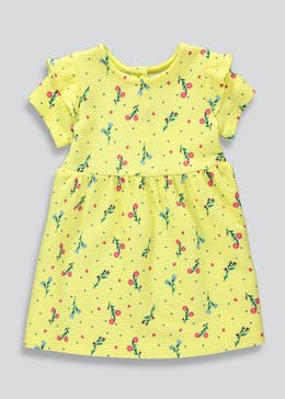 Girls Yellow Floral Ponte Dress (9mths-6yrs)