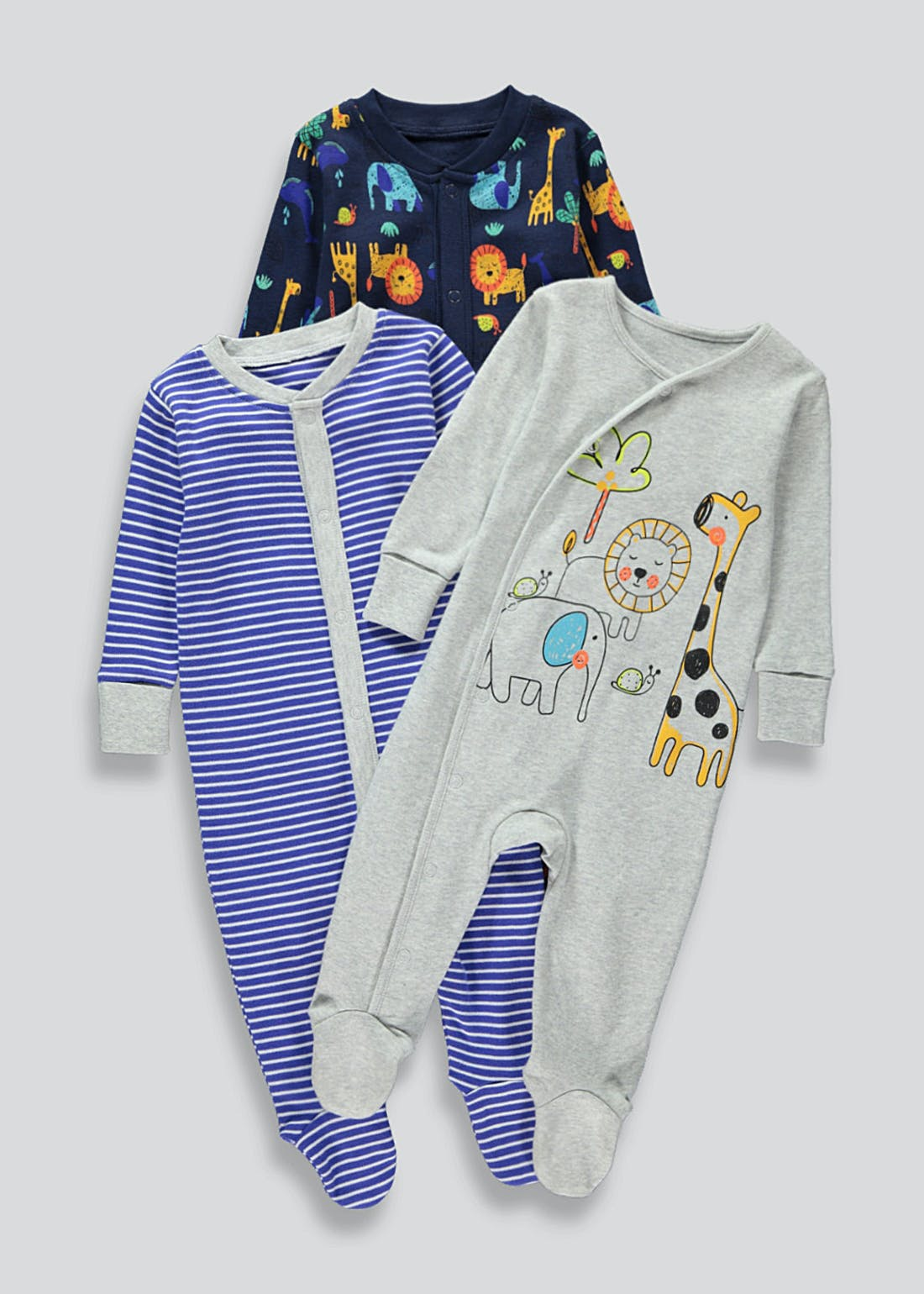 Boys 3 Pack Baby Grows (Tiny Baby-18mths)