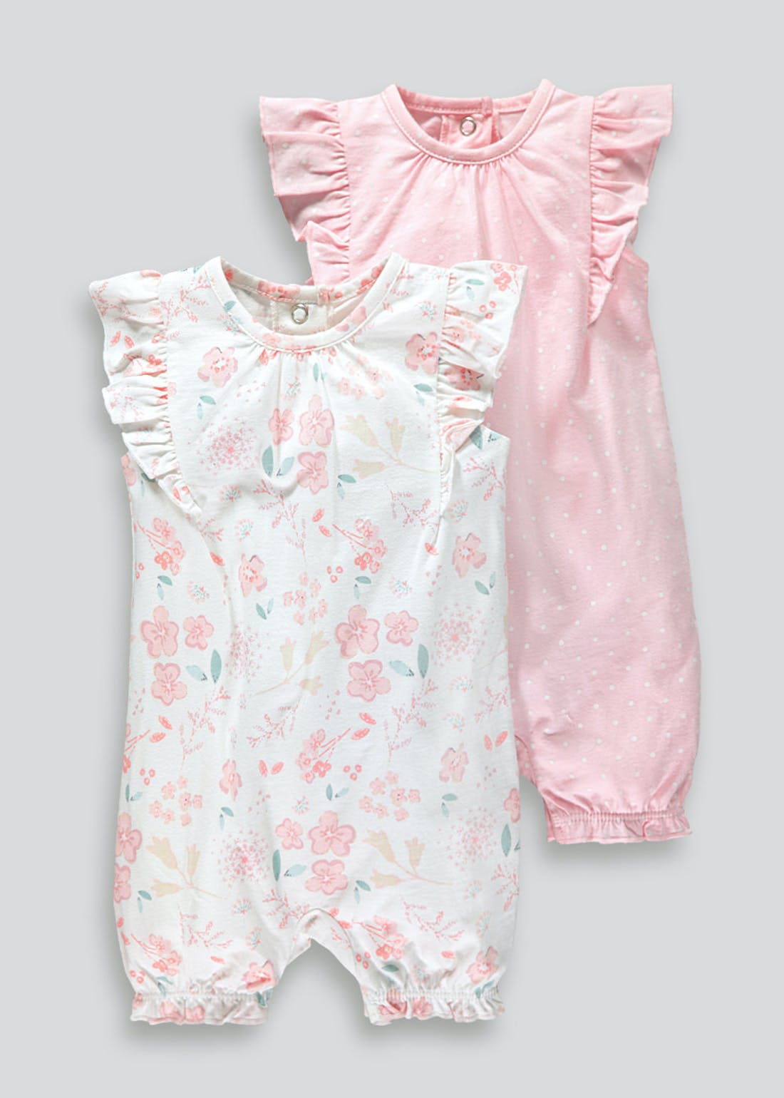 Girls 2 Pack Floral Rompers (Tiny Baby-18mths)