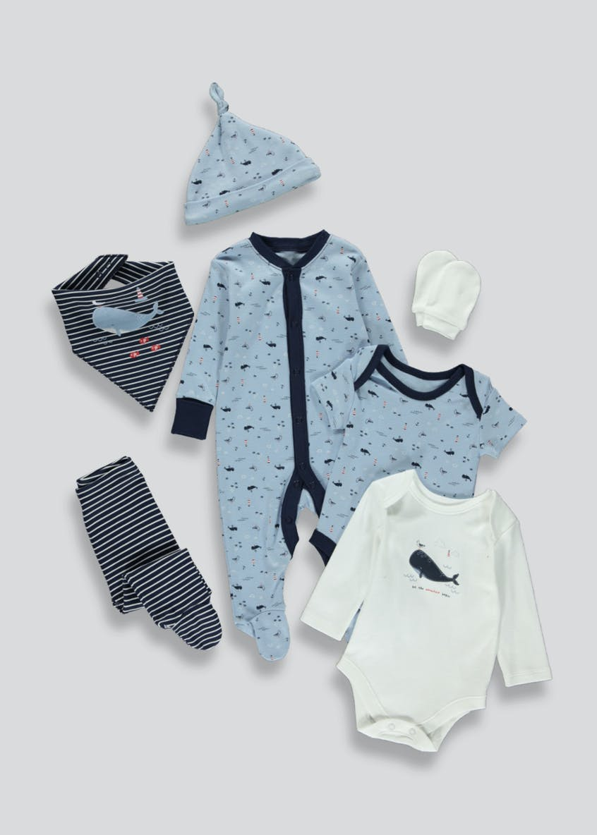 Boys 7 Piece Nautical Baby Grow Set (Tiny Baby-9mths)
