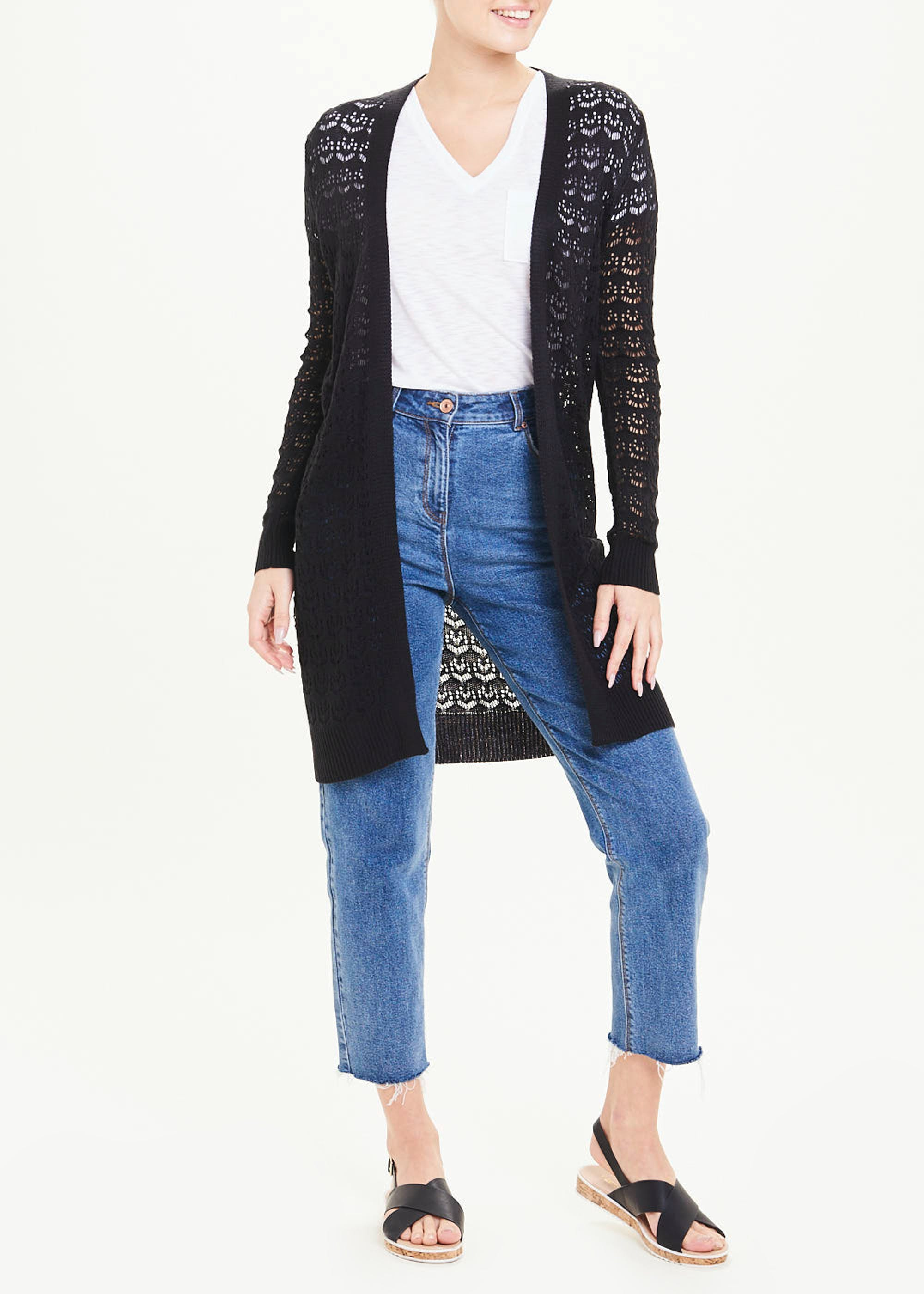Pointelle Cardigan Black MCJrBG