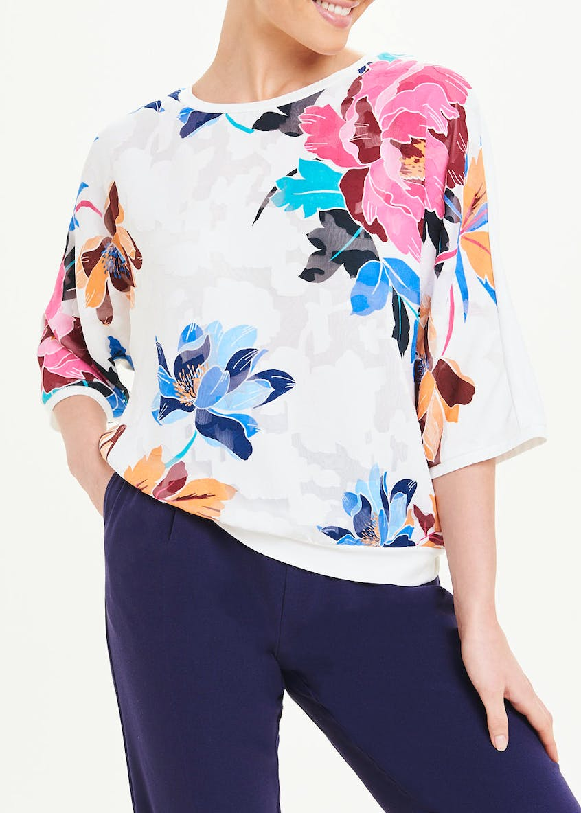Soon White 3/4 Sleeve Floral Textured Top