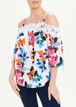 Soon Floral Lace Bardot Top
