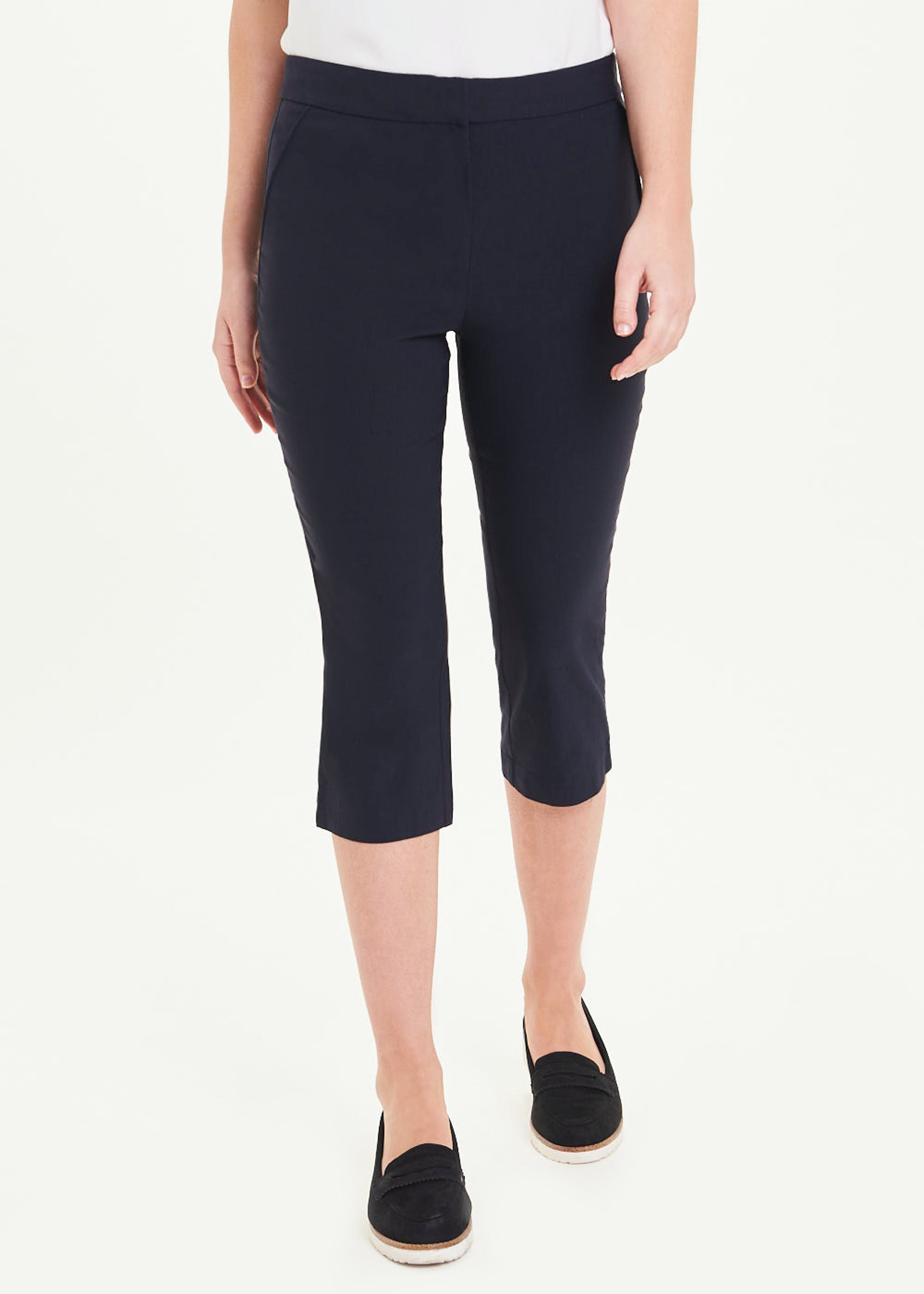 Cropped Bengaline Trousers Navy v4PVXs