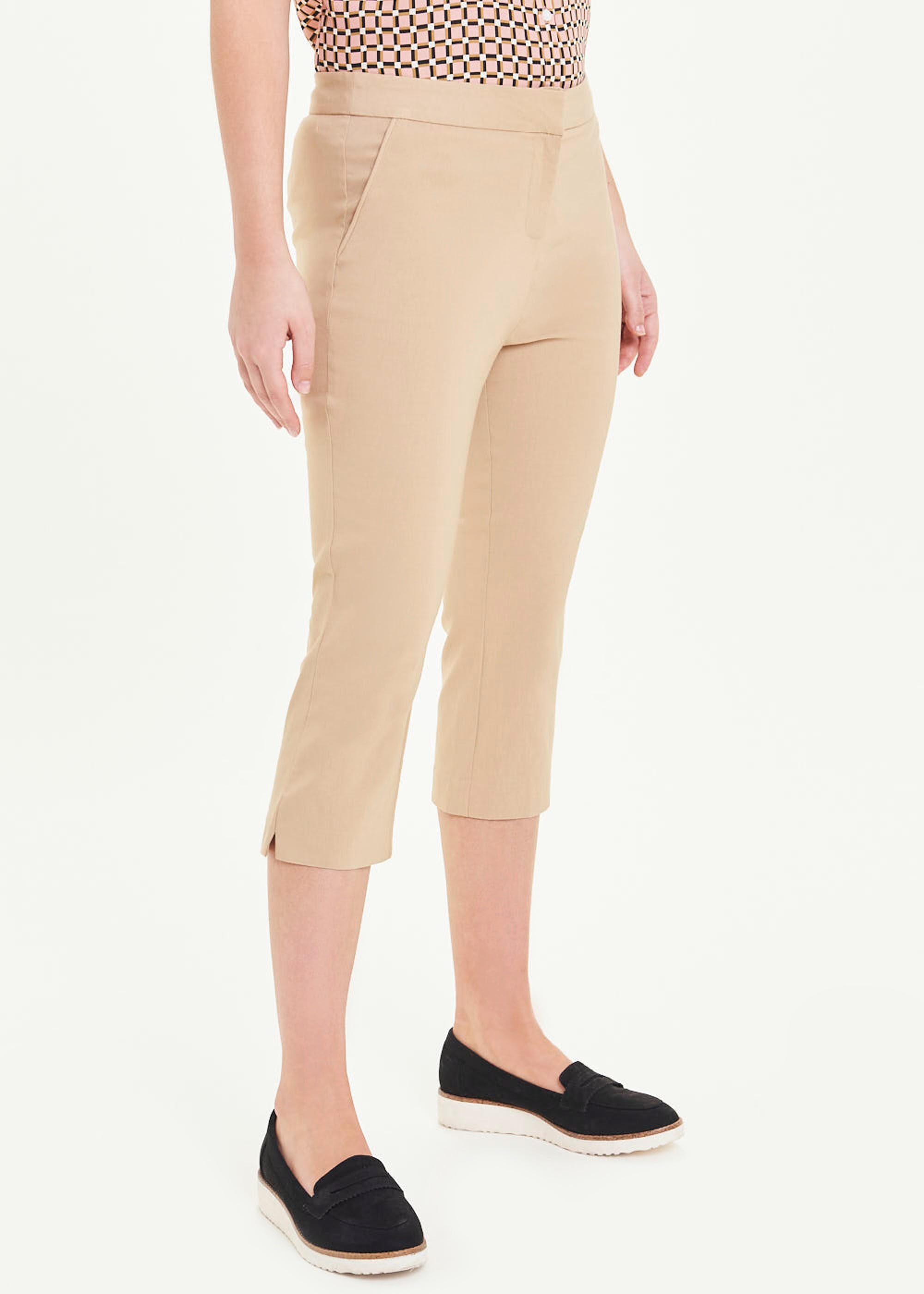 Cropped Bengaline Trousers Beige RM6izl