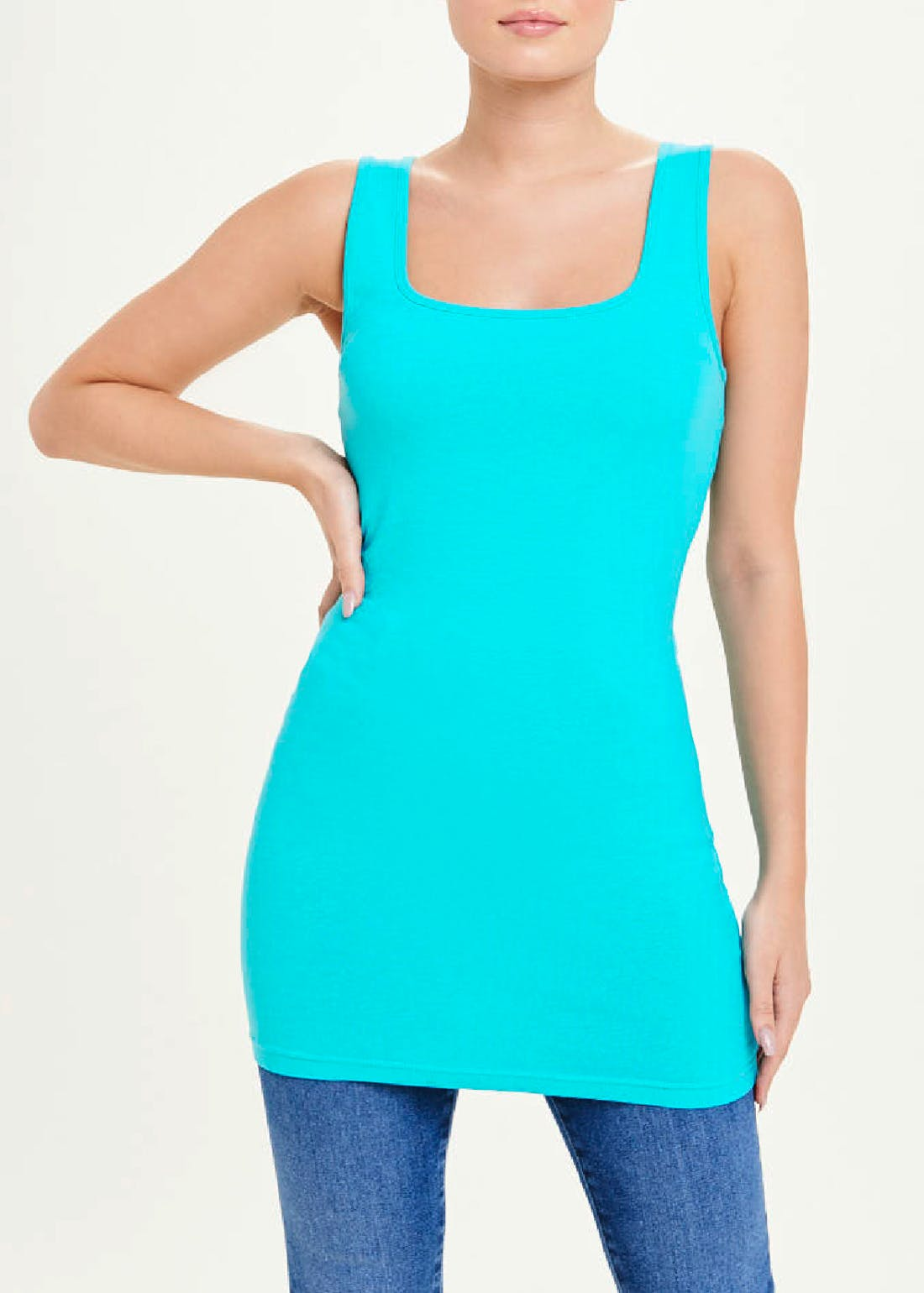 Basic Longline Square Neck Vest