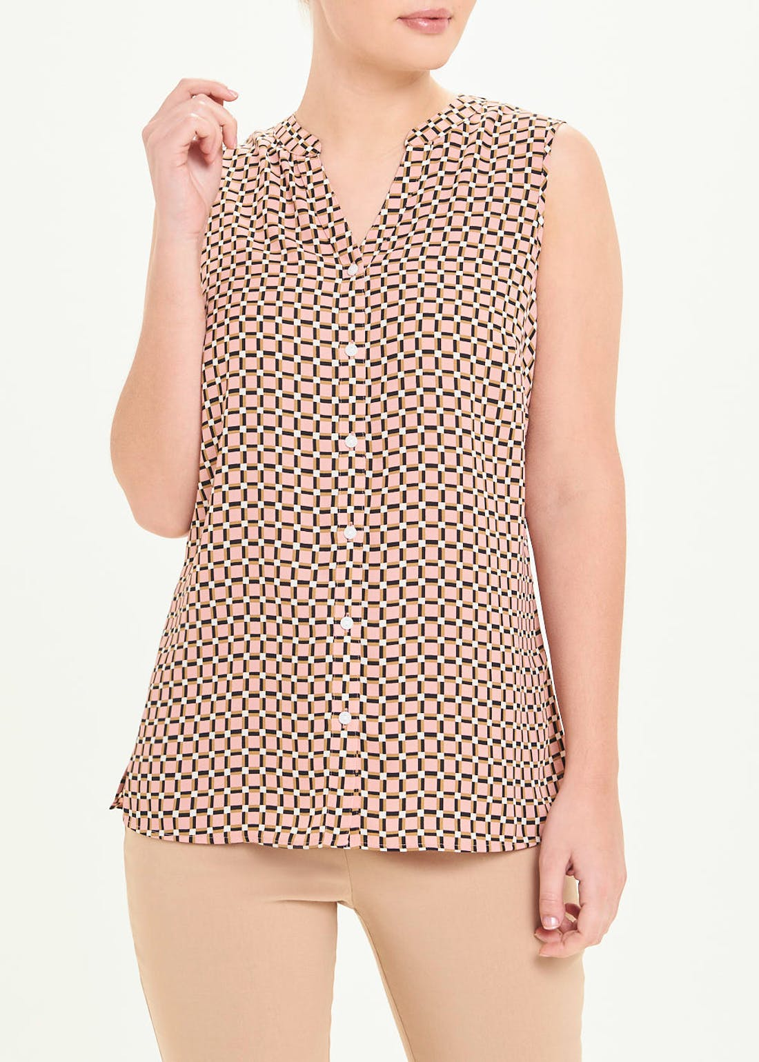 Pink Sleeveless Geo Check Blouse