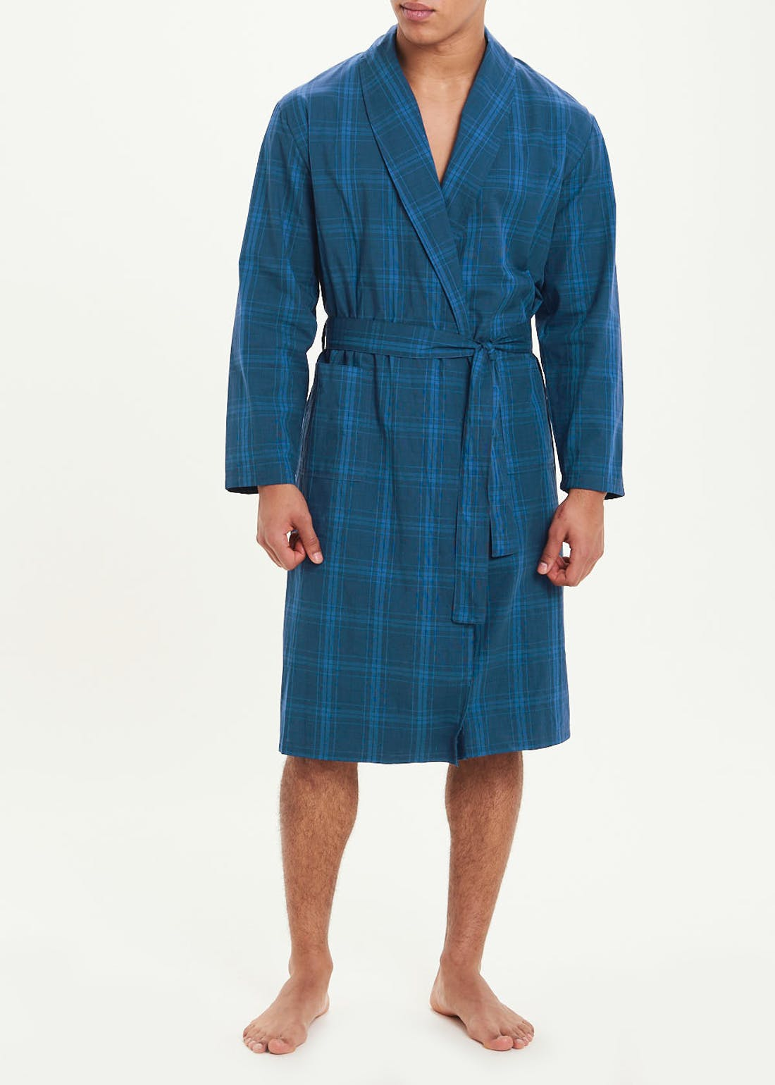 Woven Cotton Check Dressing Gown