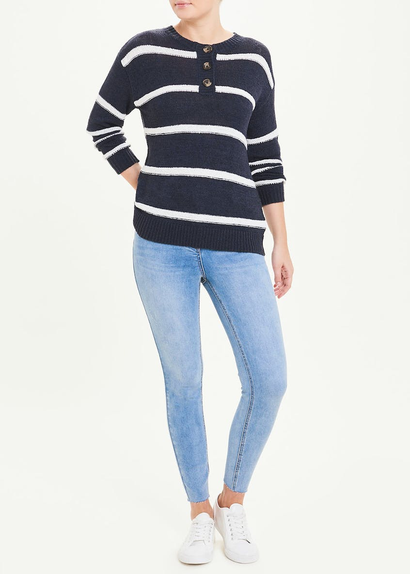 Tape Stripe Button Jumper
