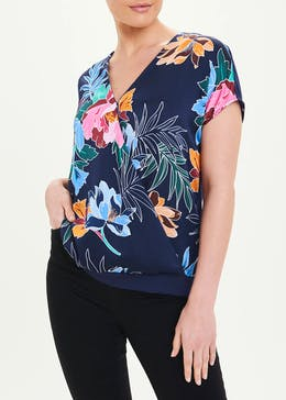 Soon Short Sleeve Floral Wrap Top