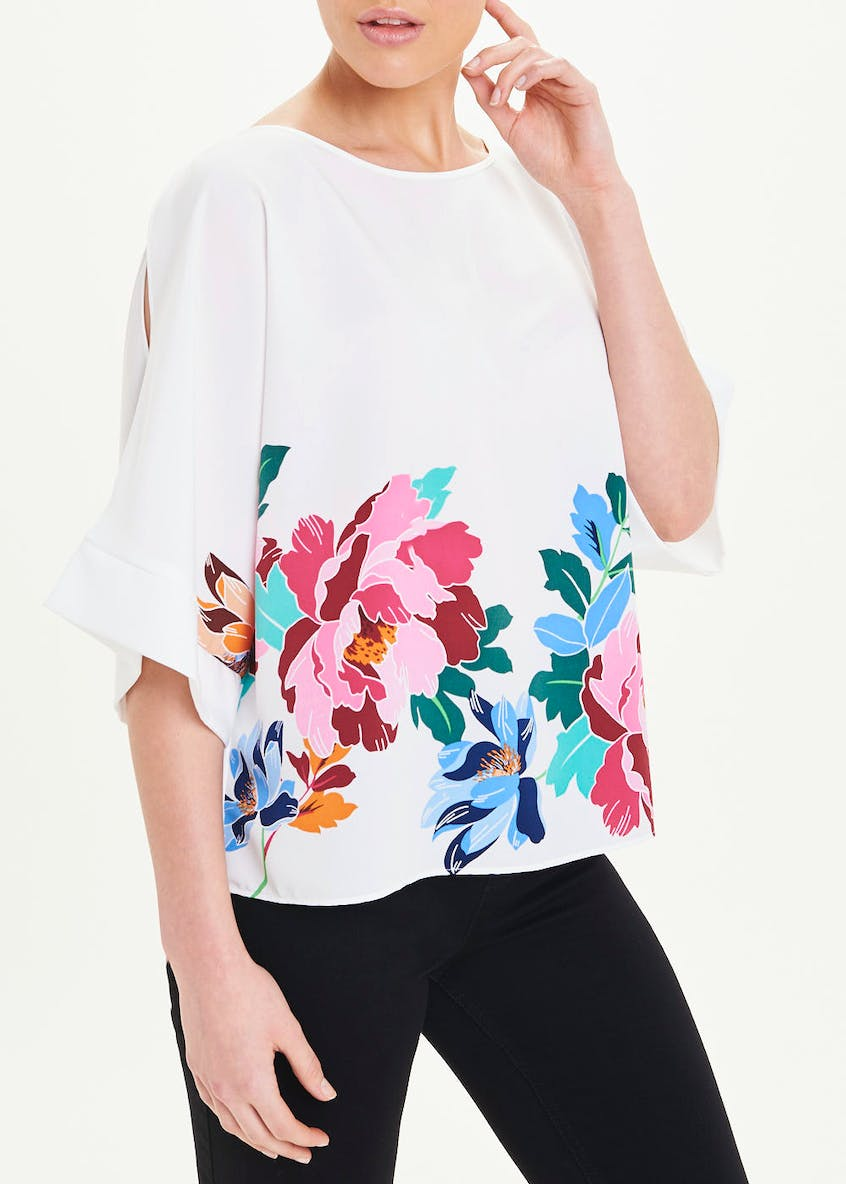 Soon White Floral Batwing Blouse