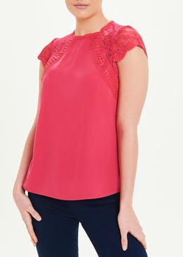 Soon Pink Short Sleeve Lace Trim Top