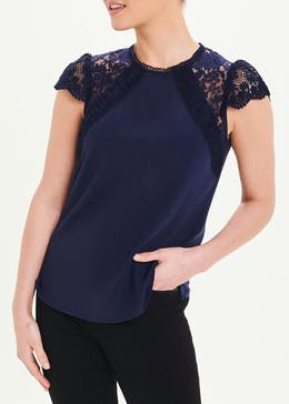 Soon Short Sleeve Lace Trim Top