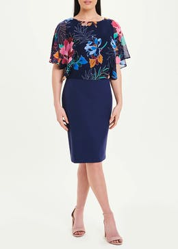 Soon Navy Floral Chiffon Scuba Dress
